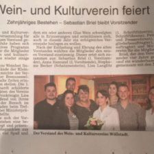 Presse: Wein- und Kulturverein feiert