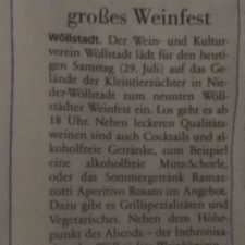 Presse: Wöllstadt feiert großes Weinfest