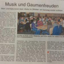 Presse: Musik und Gaumenfreuden