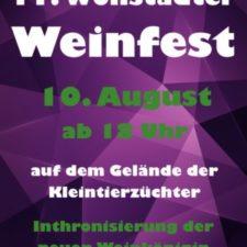 Ankündigung: Weinfest am 10.08.2019