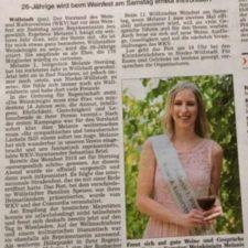 Presse: Melanie I. bleibt Weinkönigin